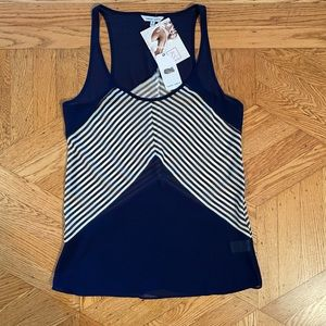Naked Zebra navy blue and white stripped tank NWTs
